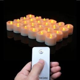 Zestaw 12 lub 24 baterii świece wotywne z pilotem, pilot zdalnego świeczki LED, małe podgrzewacze, impreza świece, elektroniczne
