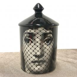 W stylu Vintage Fornasetti świecznik ręcznie świece słoik Retro Lina twarzy przechowywania ceramiczne Caft do dekoracji domu Jew