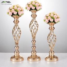 10 sztuk/partia wazony z kwiatami świeczniki do stołu podstawa metalowa stojak metalowy złoty filar świecznik na kandelabr wesel