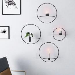 Nowy Nordic Style świecznik metalowy świeca kinkiet ścienne ścienne Holder geometryczne okrągły świecznik do montażu na ścianie