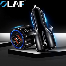 Olaf ładowarka samochodowa USB szybkie ładowanie 3.0 2.0 ładowarka do telefonu komórkowego z 2 portami USB szybka ładowarka samo