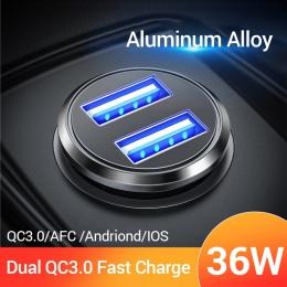 FIVI 36 W ładowarka samochodowa Metal podwójna ładowarka samochodowa USB szybkie ładowanie QC 3.0 dla Xiaomi Huawei Mini telefon