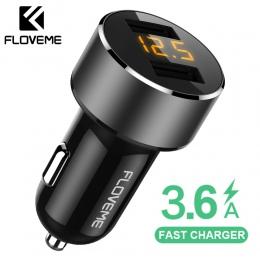 FLOVEME 18 W ładowarka samochodowa USB do telefonu iPhone Xiaomi Dual Port samochodowy Chargeur ładowarka USB 3.6A szybkie ładow
