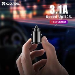 Coolreall ładowarka samochodowa mini USB Adapter 3.1A z cyfrowym wyświetlaczem LED uniwersalny podwójny USB telefon samochodowy-