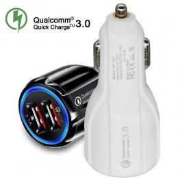 Ładowarka samochodowa USB szybkie ładowanie 3.0 2.0 ładowarka do telefonu komórkowego z 2 portami USB szybka ładowarka samochodo