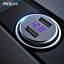 ROCK mini ładowarka samochodowa dual Usb wyświetlacz LED uniwersalny 3.4A komórkowy tablet z funkcją telefonu szybkie ładowanie