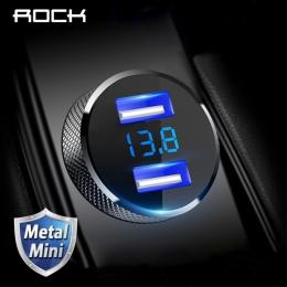 ROCK Metal cyfrowy wyświetlacz podwójna ładowarka samochodowa USB 3.4A dla iPhone X 8 7 Xiaomi Samsung szybka monitorowanie napi