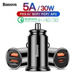 Baseus szybkie ładowanie 4.0 3.0 ładowarka samochodowa USB QC4.0 QC 3.0 5A USB C PD szybkie ładowarka samochodowa ładowania dla