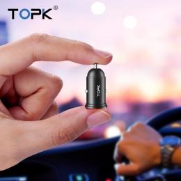 TOPK G203 ładowarka samochodowa mini USB dla iPhone Xiaomi komórkowy tablet z funkcją telefonu 3.1A szybkie ładowanie podwójna ł