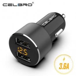 Aktualizacji Dual USB ładowarka samochodowa ładowarka do telefonu komórkowego 3.6A wyświetlacz LED samochodów ładowarka USB dla