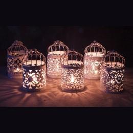 6 sztuk metalowa klatka na ptaki świecznik na ślub biały kolor latarnia maroko rocznika małe latarnie na świece wystrój