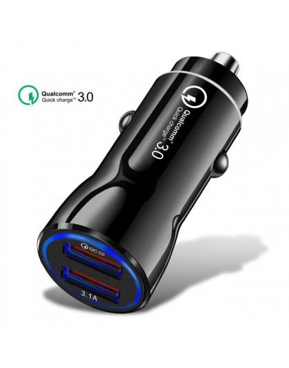 Szybkie ładowanie 5 V 3.1A szybka ładowarka 3.0 ładowarka samochodowa Usb do iphone Samsung Xiaomi Huawei danych Micro USB kabel