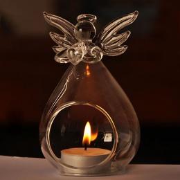 Gorąca sprzedaż mody twórczej anioł szkło kryształowe wiszące świecznik na podgrzewacze domu pokój Party Decor świecznik stojaki