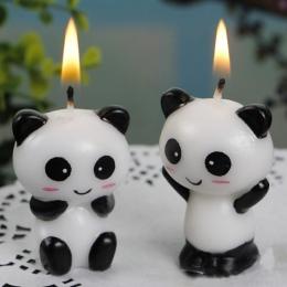 2 sztuk/para Cute Panda dla dzieci urodziny świeczki na tort urodziny strona dekoracji świeca. kreatywne urodziny ciasto wykasza