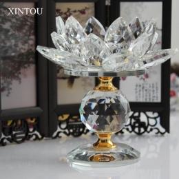 XINTOU kryształ szklany klocek kwiat lotosu metalowe świeczniki Feng Shui wystrój domu duże Tealight świecznik uchwyt świeczniki