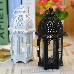 Świecznik europejski styl żelaza szkło świecznik latarnia marokański styl świece latarnia przezroczyste szkło czarny/biały