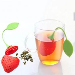1 sztuk dostaw z kuchni sitko do herbaty nietoksyczny kształt truskawek silikonowy zaparzacz do herbaty torebka na herbatę czajn