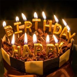 Kreatywny złoty kartka urodzinowa świeca bezzapachowe dekoracyjne wosk parafinowy kolorowe świece na urodziny dekoracje na tort