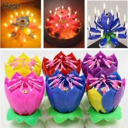 Ciasto kwiat 2 świece przycisk baterii 5 Lotus mody cal 2 5 wliczony w cenę urodziny festiwal cm dekoracyjne muzyka Party