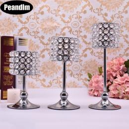 Peandim 3 sztuk srebra pozłacane świecznik kandelabr kryształowy centralny dekoracje ślubne romantyczny centrum tabeli
