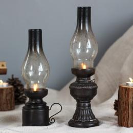 Kreatywne rzemiosło żywicy nostalgiczne lampa naftowa świecznik dekoracji szkło vintage pokrywa latarnia świeczniki dekoracje do
