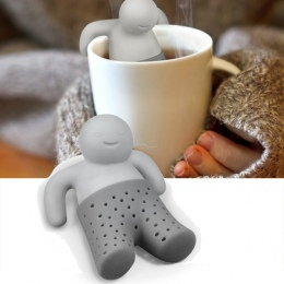 Słodkie jedzenie jakości sitko do herbaty ciekawe słodkie człowiek kształt silikonowy zaparzacz do herbaty filtr czajniczek do h