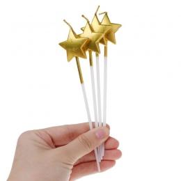 4 sztuk/zestaw śliczne złoto srebro serce gwiazda świeczki urodzinowe na świeczki na tort miłość świeca dla dzieci Party Supplie