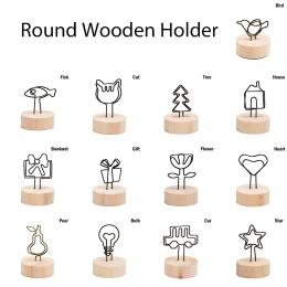 Nowy 4 CM kreatywny okrągły uwaga drewniane ramki na zdjęcia klip tabeli numer Wedding ramka na fotografię zdjęcie Clip Memo naz