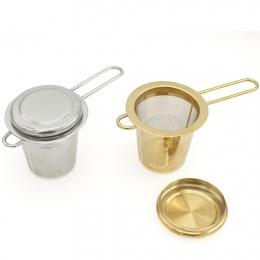 Metalowy zaparzacz sitkowy do herbaty ziół z rączką wykonany ze stali nierdzewnej w klasycznym złotym srebrnym kolorze