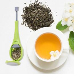 Z tworzywa sztucznego naciśnij Swirl długi uchwyt filtr do herbaty zaparzacz do herbaty łyżka wielokrotnego użytku sitko do herb