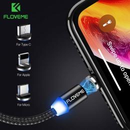 FLOVEME 1 M magnetyczny kabel ładowania, kabel Micro USB do iPhone XR XS Max X magnes ładowarka kabel USB typu C ładowania LED p