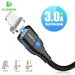 FLOVEME kabel magnetyczny Micro USB typu C dla iPhone oświetlenie kabel 1 M 3A kabel szybkiego ładowania typu C magnes ładowarka