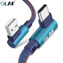 OLAF 2 m USB typu C 90 stopni szybkie ładowanie kabel usb c typu c przewód danych ładowarka usb c dla Samsung S8 S9 uwaga 9 8 Xi
