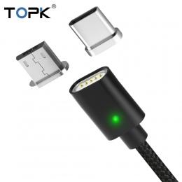 TOPK AM21 kabel magnetyczny kabel USB typu C & Micro USB pleciony kabel nylonowy wskaźnik LED synchronizacji danych kabel magnet