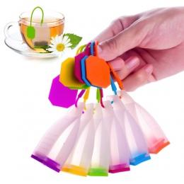 Funkcjonalne silikonowe torebki do zaparzania liściastej herbaty wielokrotnego użytku w kolorze zielonym niebieskim fioletowym