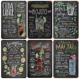 [InFour +] nowy CUBA LIBRE koktajl metalowe tabliczki wystrój domu w stylu Vintage plakietki emaliowane Pub domu płytki dekoracy
