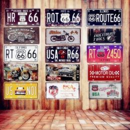 Stany zjednoczone znaki na metalowej blaszce w stylu vintage Route 66 samochodowe numer tablicy rejestracyjnej tablica plakat Ba