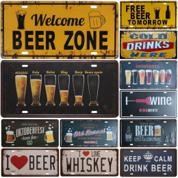 Nowy gorący bubel piwa grupy metalowa płyta numer samochodu plakietka emaliowana Bar Pub Cafe Home Decor metalowy znak garażu ma
