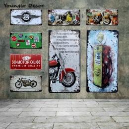 Retro oleju silnikowego motocykl prawo jazdy płyta istnieje wiele przejazdów US 66 Motel w stylu Vintage plakietki emaliowane Sh