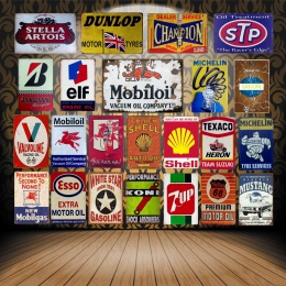 W stylu Vintage Mobil olej silnikowy plakietki emaliowane Metal plakat ELF STP Valvoline Auto motocykl benzyna garaż sklep Home
