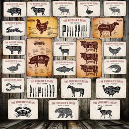 [Mike86] cięcia rzeźnik przewodnik wołowiny świnia kaczka mięso kolekcja cyny znak wystrój Retro tablica dekoracyjna malowanie m