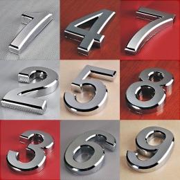 1 pc nowy Plated wystrój domu adres tarcza cyfry Hotel drzwi naklejki tabliczka znak numer domu tablica 5 cm srebrny nowoczesne