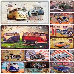 Autobus motocykl samochód metalowy tablicy rejestracyjnej Vintage Home Decor plakietka emaliowana Bar Pub garaż dekoracyjne meta