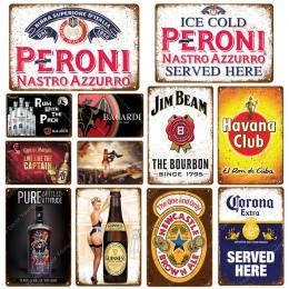 Rum z opakowania Bacardi piwo tablica Peroni znaki na metalowej blaszce w stylu vintage Pub Bar kasyno ścienne płytki dekoracyjn