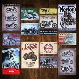 Retro BSA motocykli złota gwiazda metalowa płyta Norton Scout plakietka emaliowana Vintage Metal plakat garażu klub Pub Bar deko