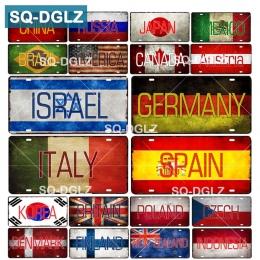 [SQ-DGLZ] flaga kraju + nazwa tablicy rejestracyjnej Bar dekoracje ścienne plakietka emaliowana Vintage Metal zaloguj wystrój do