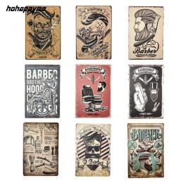 Fryzjer sklep Vintage plakietka emaliowana akademiku metalowa płyta dekoracji tablica plakat Cafe Bar ściany wystrój domu 20*30