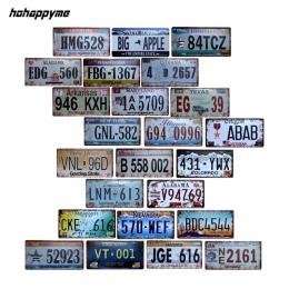 Hohappyme amerykański samochód liczba płytek stany zjednoczone tablicy rejestracyjnej garażu tablica metalowa plakietka emaliowa