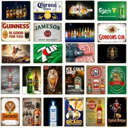 Retro dekoracje barowe zimne piwo plakietki emaliowane metalowe płytki nazębnej wino whisky malarstwo plakat Pub kasyno dom w st
