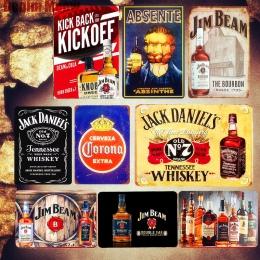 Zimne piwo płytki nazębnej Retro metalowa plakietka emaliowana Jack whisky Jim Beam plakat Bar Pub kasyno płytki dekoracyjne Wal